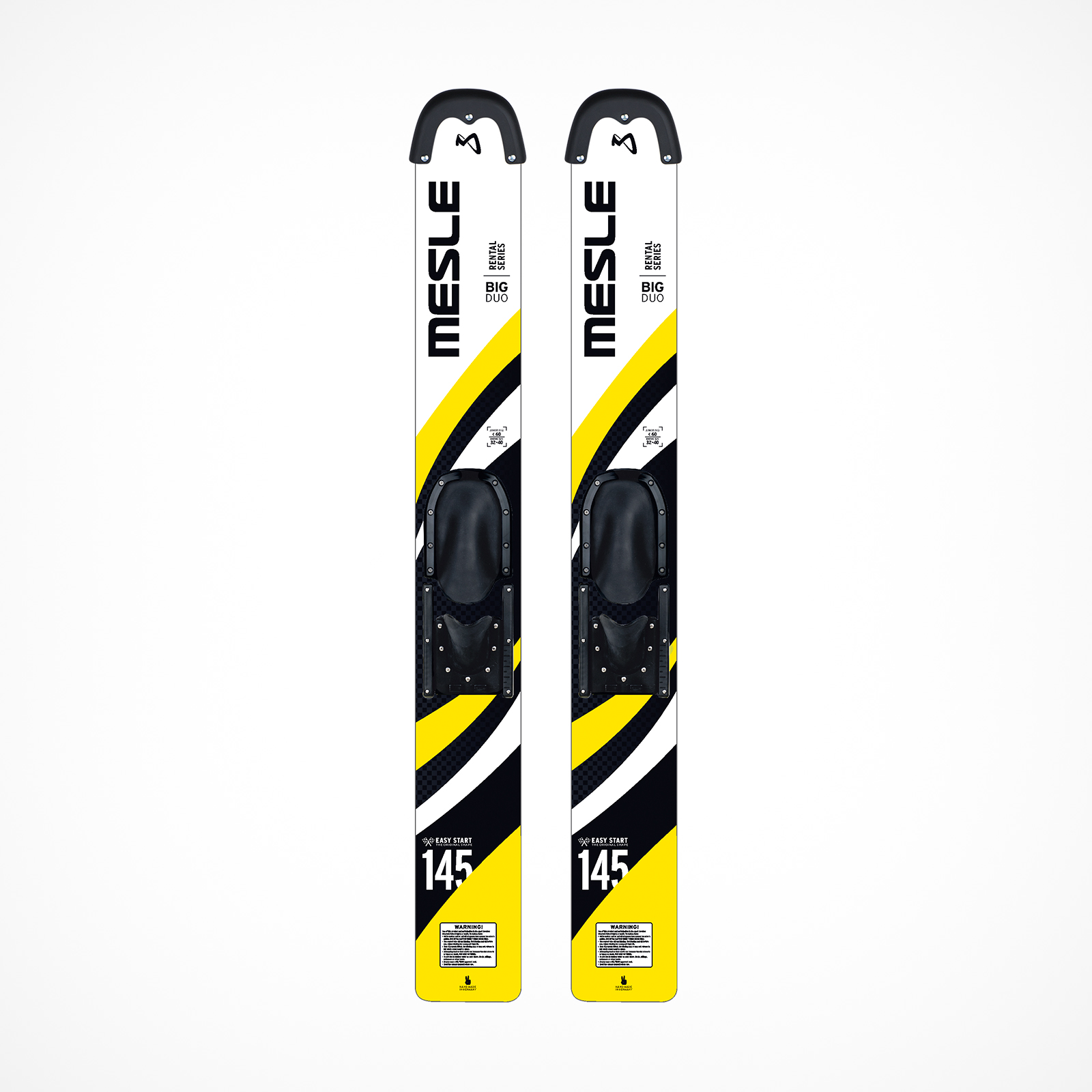 MESLE Big Duo 145cm, yellow, Rentalski with tip guard for children