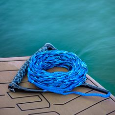 MESLE wakeboard and water ski rope Ergo in blue with ergonomic EVA foam handle, floating, length of rope with handle 23 m, can be shortened to 16.7 m, with rope keeper