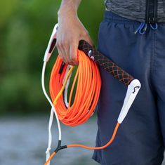MESLE Wakeboard Handle ARS-R 15'', Non-Stretch Silicon Line in neon orange, round Grip out of synthetic PU Leather, Length 1.5 m