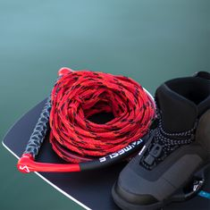 MESLE Wakeboard Rope Team in red, 15'' wide EVA handle, length pull rope with dumbbell 15.2 - 19.8 m