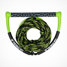MESLE Wakeboard Rope Team in black-lime, 15'' wide EVA handle, length pull rope with dumbbell 15.2 - 19.8 m