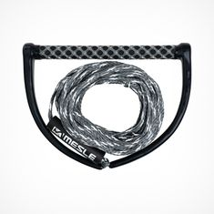 MESLE Wakeboard Rope ONE silver with 15'' Grip, Length 16.8 m - 18.3 m, EVA Soft Grip, floating, inclusive Rope Keeper