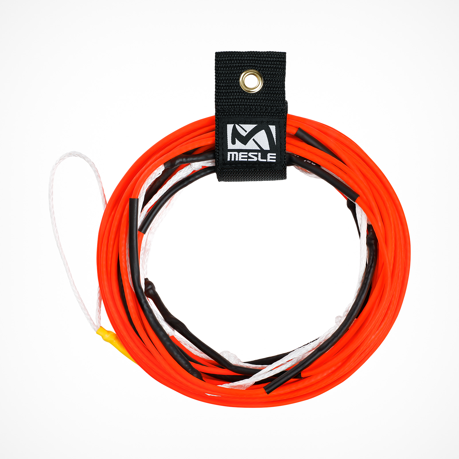 MESLE Wakeboard Rope TEN 80', Non-Stretch Silicone Line in neon orange, Length 24.4 m - 15.2 m, 7 Sections, Dyneema-Silicone for Competitions, floating, inclusive Rope Keeper
