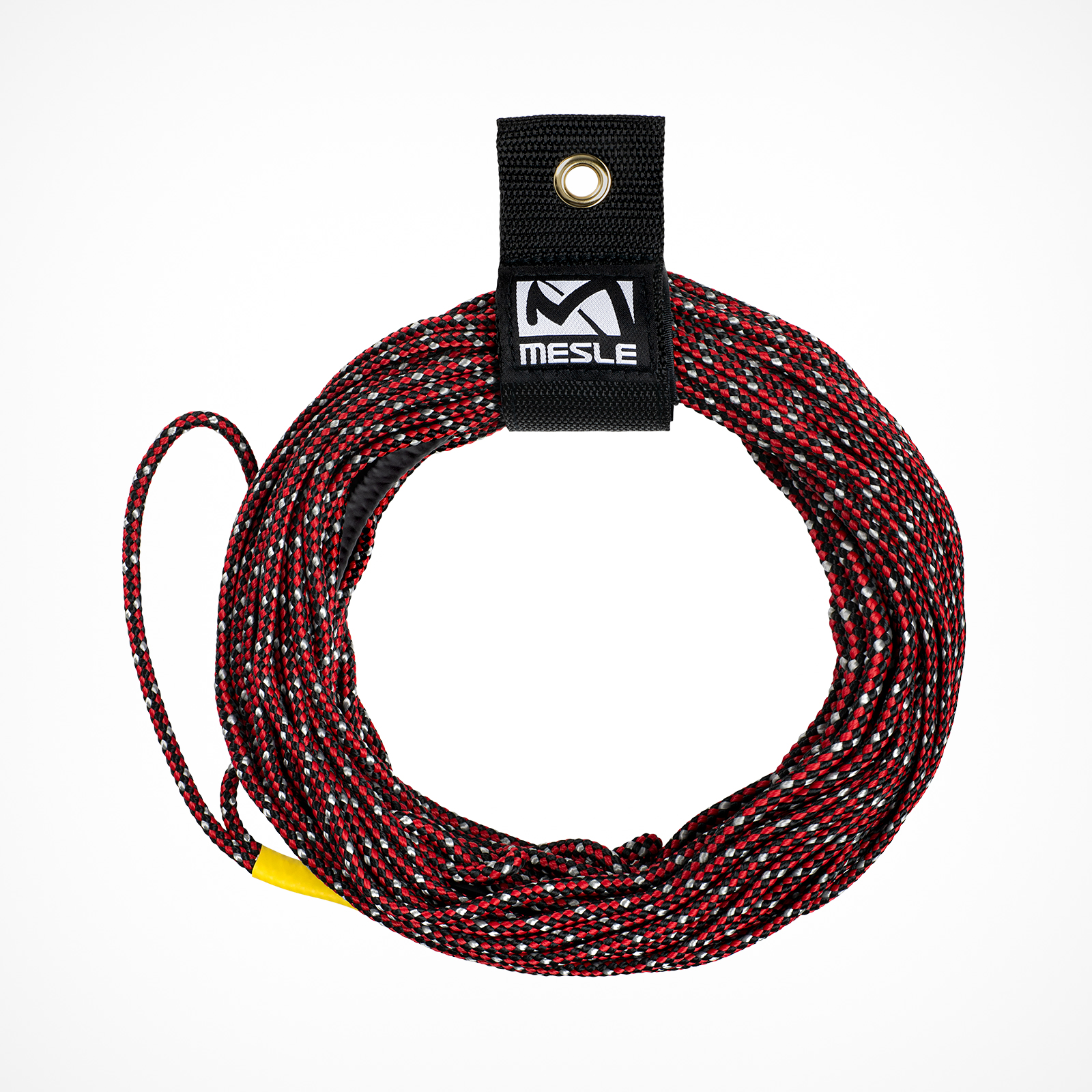 MESLE Wakeboard Rope SIX 65' in red and black, Non-Stretch Spectra Rope, Length 15.2 m - 19.8 m, 3 Sections, Dyneema Wakeboard-Rope, floating, inclusive Rope Keeper