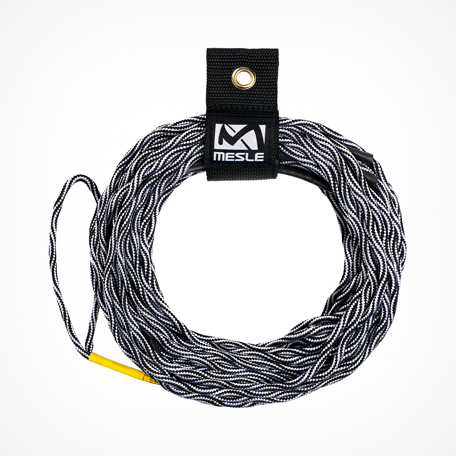 MESLE Wakeboard Rope SIX 65' in black and white, Non-Stretch Spectra Rope, Length 15.2 m - 19.8 m, 3 Sections, Dyneema Wakeboard-Rope, floating, inclusive Rope Keeper