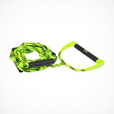 Mesle Wakesurf-Rope ALH for Wakesurfing behind the boat, Length 23', with Floats and Knots, synthethic leather grip, green black