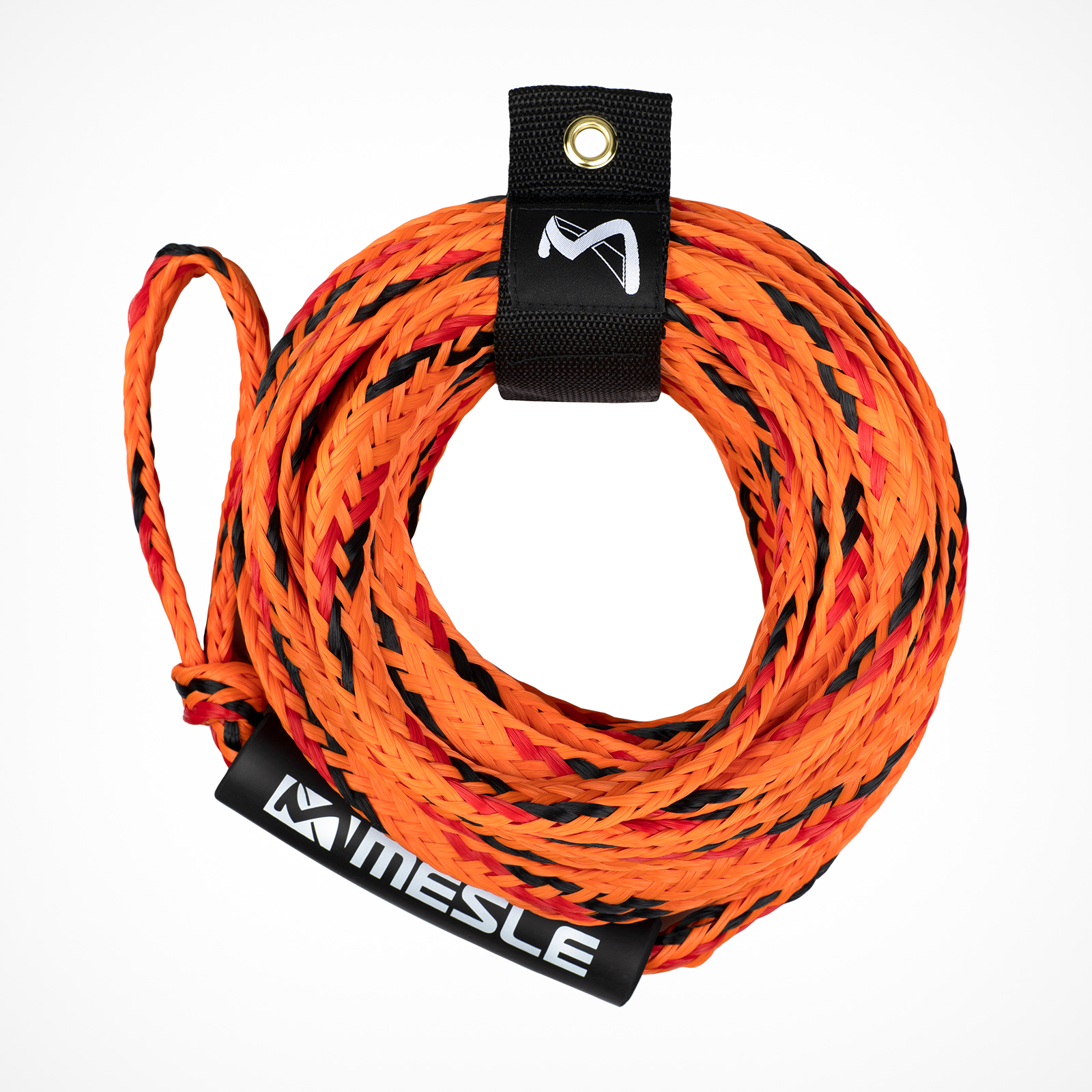 MESLE Tow Rope Pro 4P 60' for towable Water Sports Tubes in orange, floating and inclusive Rope Keeper