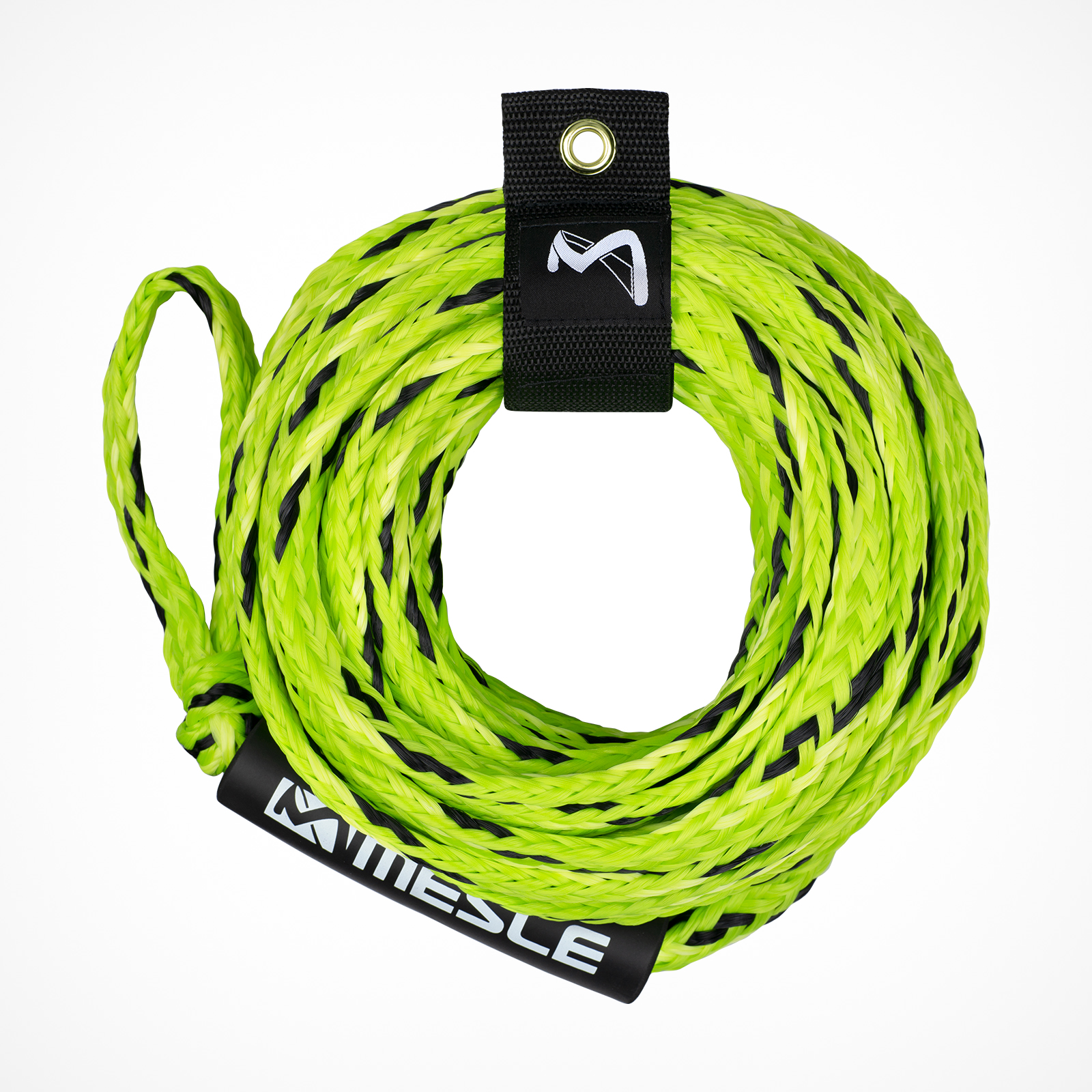 MESLE Tow Rope Pro 4P 60' for towable Water Sports Tubes in lime, floating and inclusive Rope Keeper