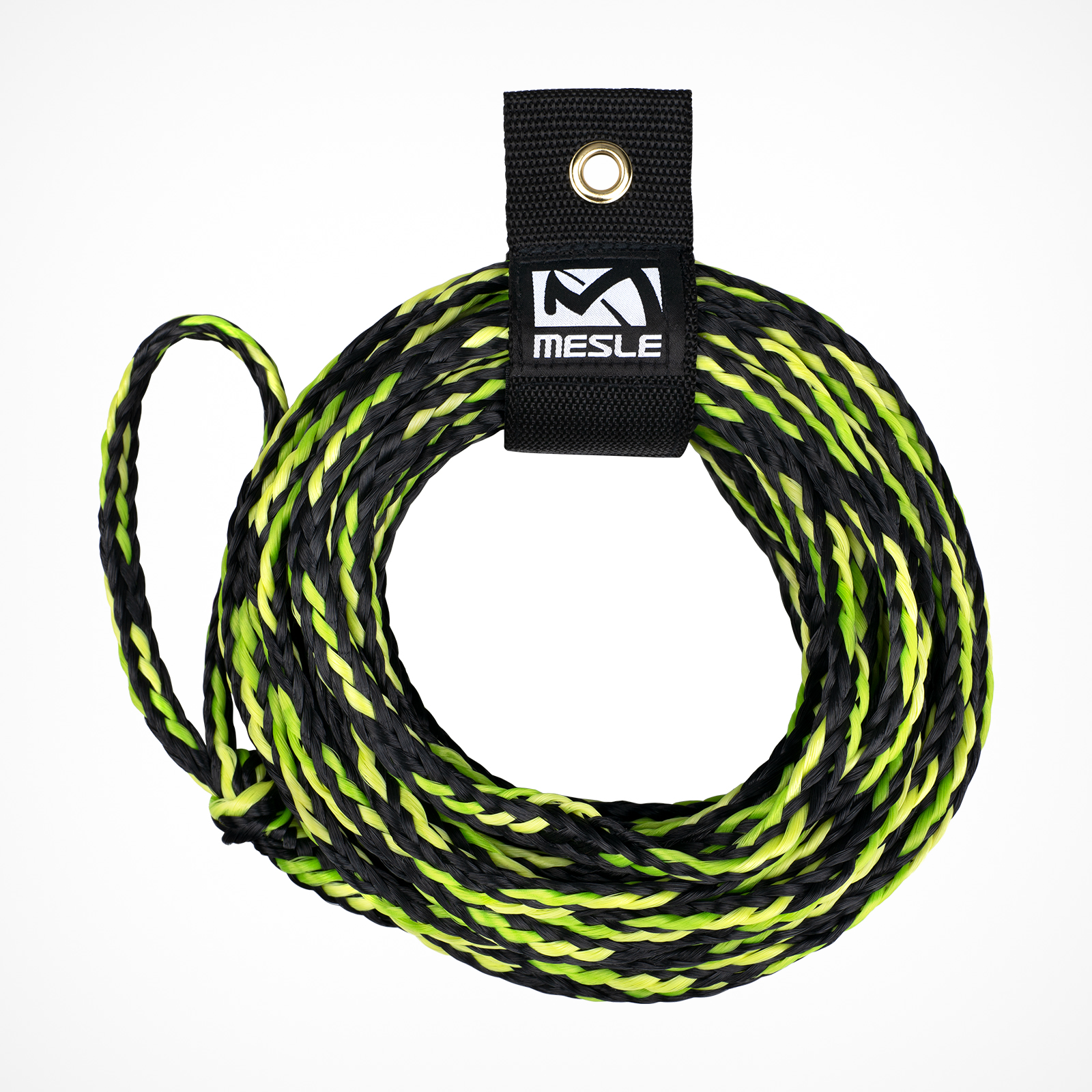 MESLE Schleppleine for 2 Persons towable Tubes, black-lime, inclusive Rope Keeper