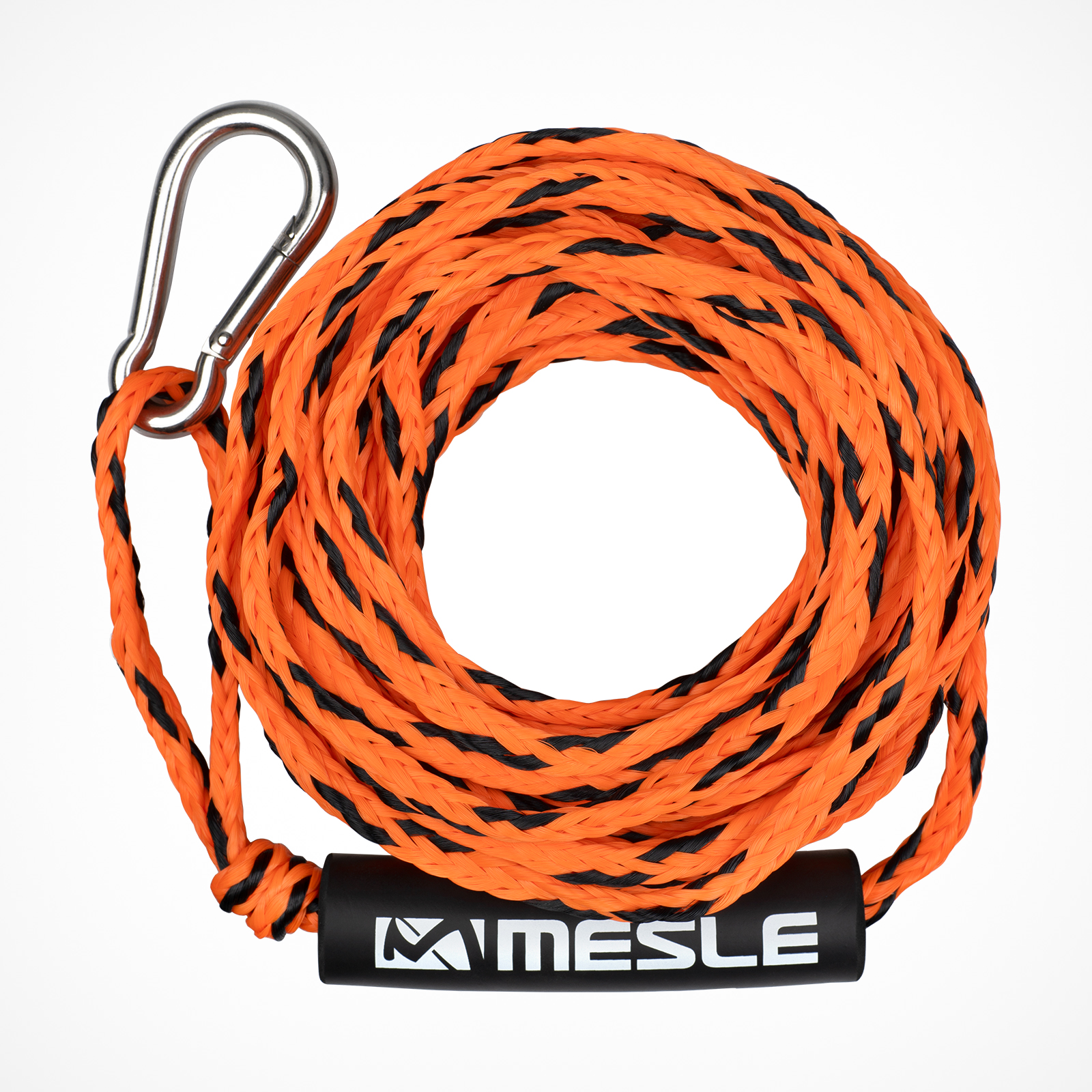 MESLE Tow Rope for 2 persons in orange, 50' for Water Sports Tubes, floating and with Carabiner