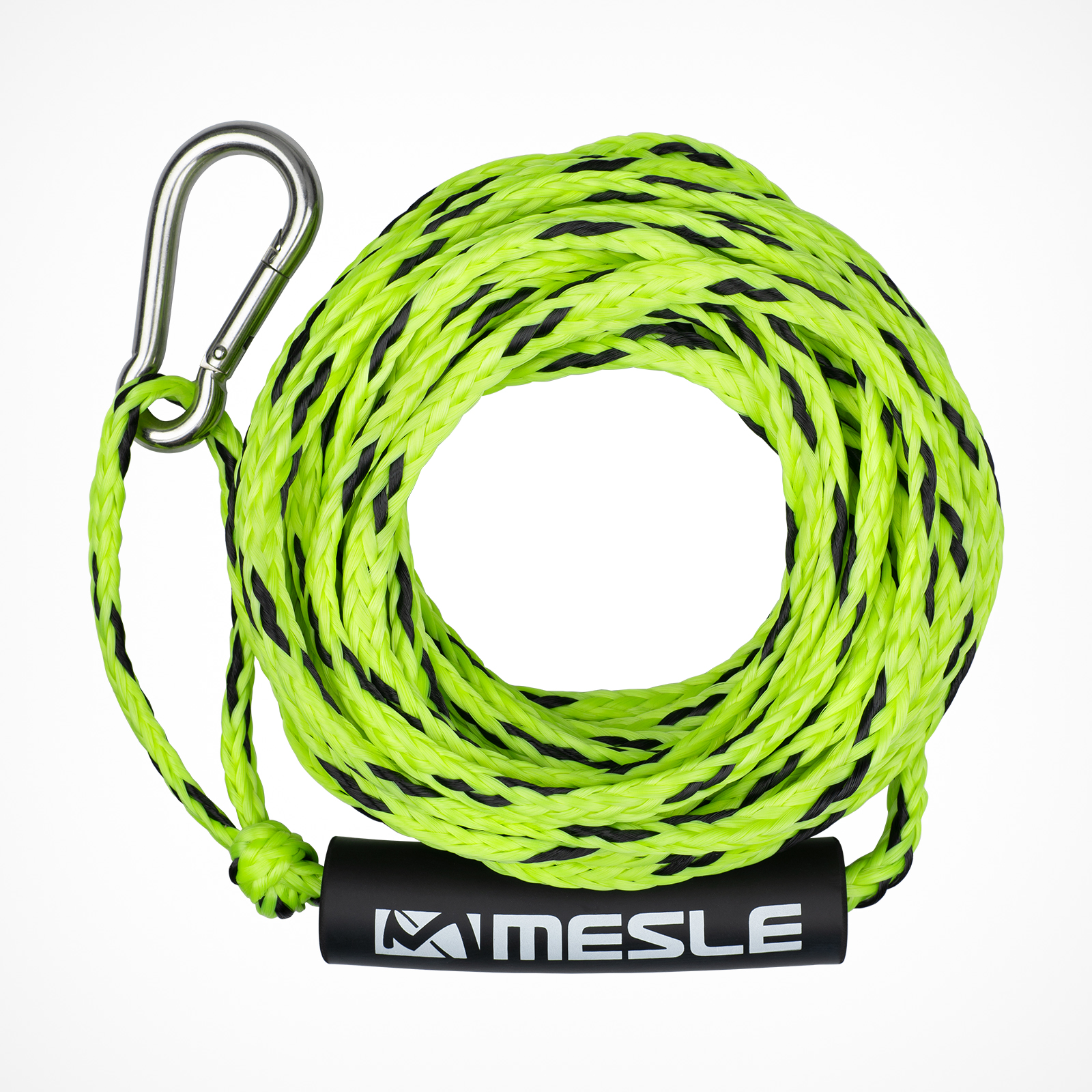 MESLE Tow Rope for 2 persons in lime, 50' for Water Sports Tubes, floating and with Carabiner