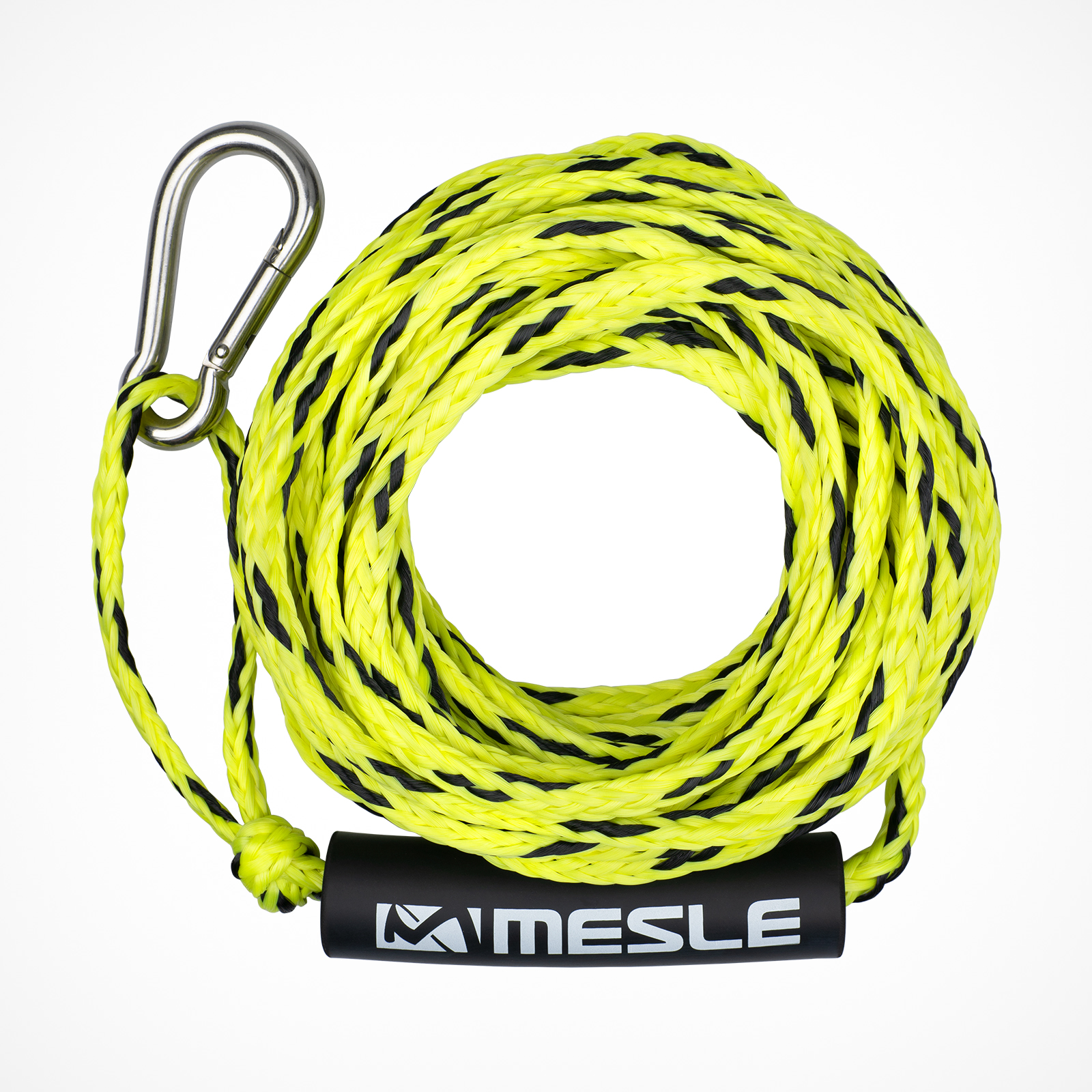 MESLE Tow Rope for 2 persons in yellow, 50' for Water Sports Tubes, floating and with Carabiner