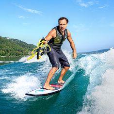 Mesle Wakesurf-Board Shaka 58', Surfstyle Wakesurfer for Beginners and Intermediante, Length 147 cm, lot of buoyancy, white red blue