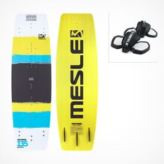 MESLE Wakeboard Easy Wake II in yellow with ProGrip2 Sandals Binding und Fins as a Package
