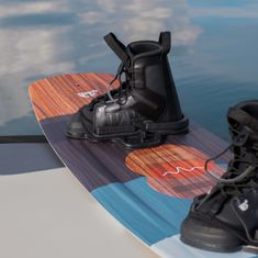 WAKETEC Wakeboard Bindings Moto, black, Boots with lacing system, Wakeboard Play 139 cm