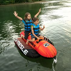 MESLE Tube Torpedo in red-orange for 2 Persons, Shape of an inflatable towable Banana-Boat, for Children and Adults