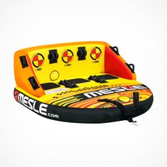 Mesle Towable Funtube Formular, 3 Person water sports couch tube with 2  tow points, orange yellow