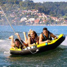 Mesle Towable Funtube Airborne, 3 Person Water sports Deck Tube with wings, blue red