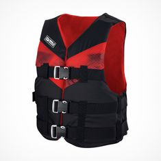 MESLE Lifejacket V210 in red-black, lightweight Buoyancy Aid for Adults & Youths, XS-XL from 30 kg , 50-N, for SUP Water Skiing Paddling Wakeboarding Kayak Snorkelling
