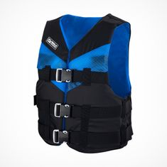 MESLE Lifejacket V210 in blue-black, lightweight Buoyancy Aid for Adults & Youths, XS-XL from 30 kg , 50-N, for SUP Water Skiing Paddling Wakeboarding Kayak Snorkelling