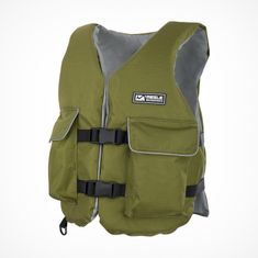 MESLE Buoyancy Aid Fisherman with Pockets in olive, 50-N for Fishing SUP Paddling Canoe, Buoyancy Aid for Adults & Youths
