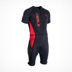 MESLE Barefoot Suit Footer Short Sleeve in red black with Zipper